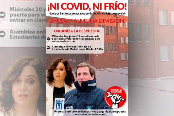 Ante el colapso en los centros de estudio por la desidia y la falta de previsión, la vuelta a las clases en Madrid se pospone mientras los servicios públicos brillan por su ausencia