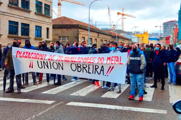 Trabajadores del Metal de Vigo en pie de guerra contra la firma del convenio