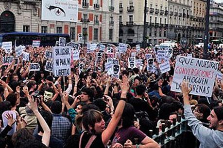 Puerta del Sol en una de las manifestaciones del 15-M