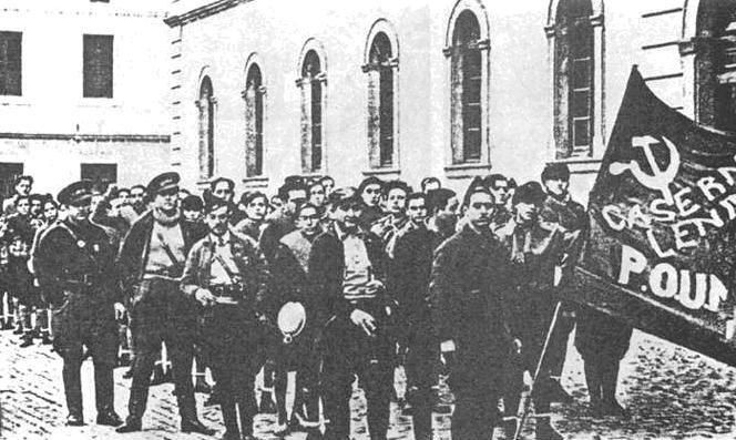 Trabajadores del POUM en Barcelona 1937
