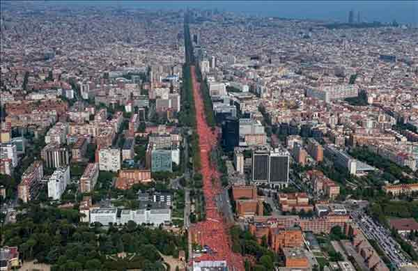Catalunya: Diada 2018, una inmensa demostración de fuerza por la libertad de los presos políticos y la república