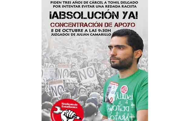 Estado español: Piden tres años de prisión para Tohil Delgado, exsecretario general del Sindicato de Estudiantes, por intervenir contra una redada racista