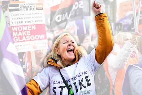 Huelga de trabajadoras en Glasgow